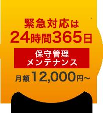 緊急対応は24時間365日 保守管理メンテナンス 月額12,000円~